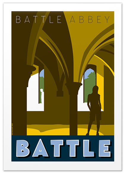 Greetings card of Battle Abbey novice dormitories, Battle