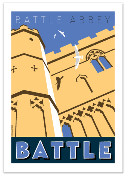 Greetings card of Battle Abbey front facade, Battle