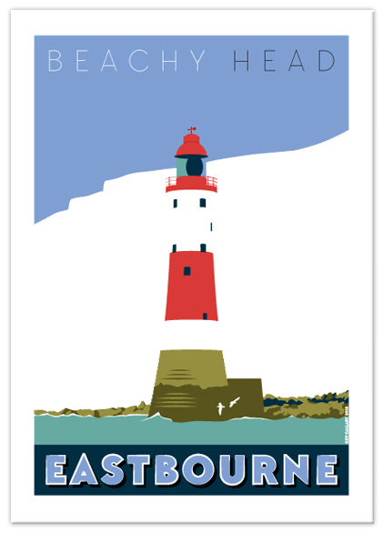 Greetings card of Beachy Head lighthouse, Eastbourne