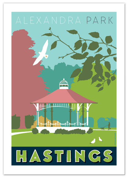 Greetings card of Alexandra Park bandstand, Hastings
