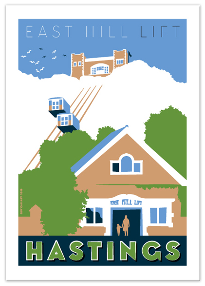 Greetings card of East Hill Lift, Hastings