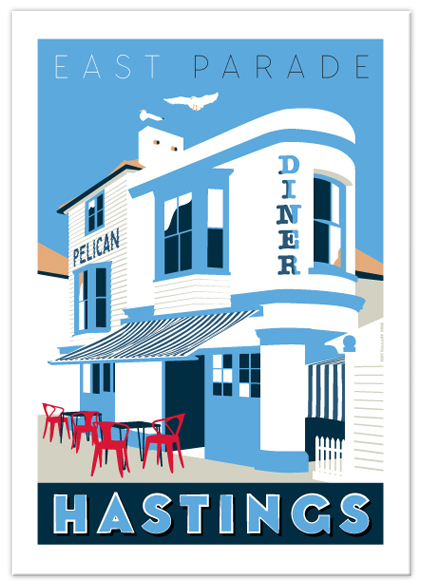 Greetings card of Pelican Diner on East Parade, Hastings