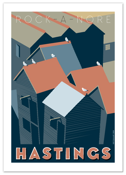 Gretings card of Rock-a-Nore roofs, Hastings