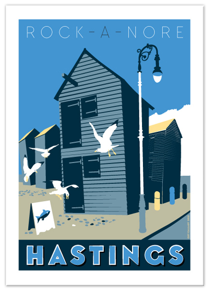 Greetings card of Rock-a-Nore gulls, Hastings