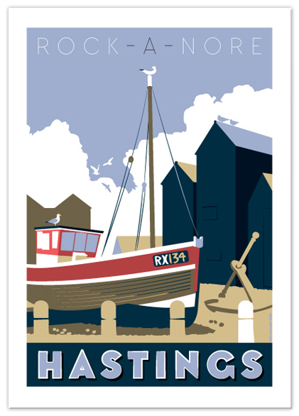Greetings card of Rock-a-Nore boat RX134, Hastings