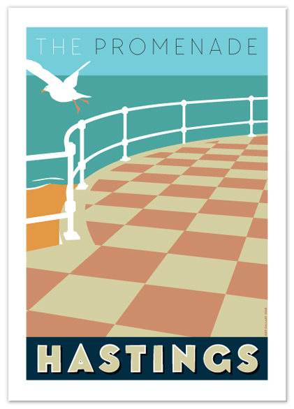 Greetings card of the Promenade chequered flagstones, Hastings