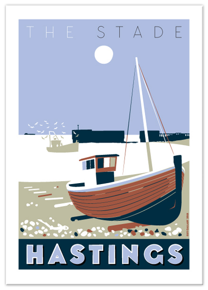 Greetings card of The Stade brown boat, Hastings