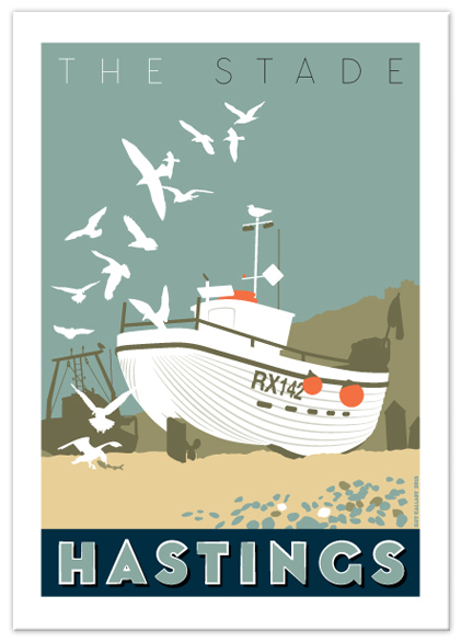 Greetings card of The Stade white boat, Hastings