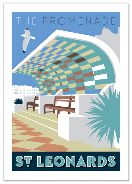 Greetings card of The Promenade shelter, St Leonards