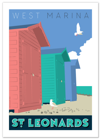 Greetings card of West Marina beach huts, St Leonards