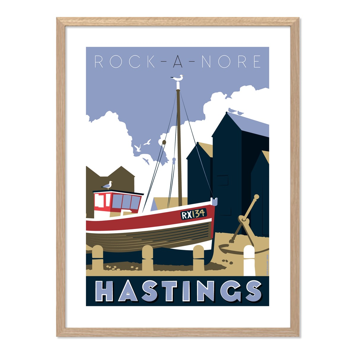 Print of Rock-a-Nore boat RX134, Hastings