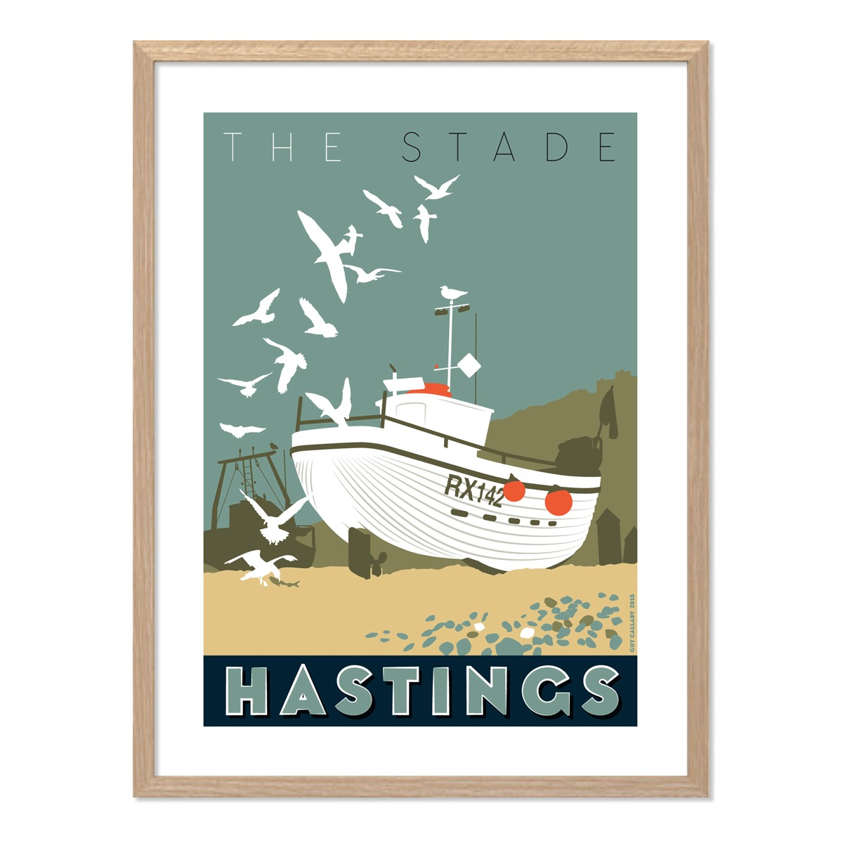 Print of The Stade white fishing boat, Hastings