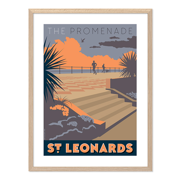 Print of The Promenade at sunset, St Leonards